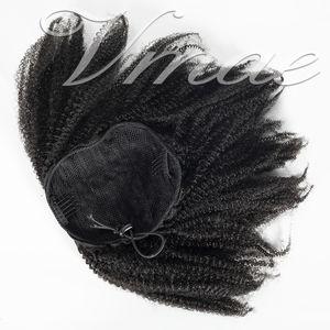 Бразильский 4A 4B 4C 120g натуральный цвет хвощ афро кудрявый вьющиеся прямые резинки Remy Virgin наращивание человеческих волос шнурок хвостик