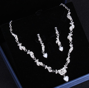 Shinning Silver Bridal Jewelry 2 Pieces Sets Necklace Earrings Bridal Jewelry Bridal Accessories Wedding Jewelry T221197