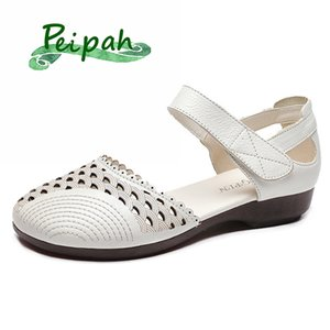 PEIPAH Platform Genuine Leather Women's Sandals Summer Ladies Hollow Out Shallow Mothers' Shoes Woman Wrap Toes Solid Slides