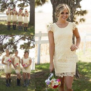 Новая страна короткие платья подружки невесты для свадебных драгоценностей шеи с короткими рукавами ножна кружева светло-желтый плюс размер горничные чешения