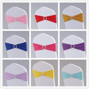 Elastic Chair Band Covers Sashes For Wedding Party Prom With Hoop Buckle Spandex Chairs Sash Buckles Cover Party wedding Free DHL XD19896
