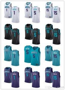 Delle donne degli uomini della GioventùCarlottaHornets1 Muggsy Bogues 5 Nicolas Batum 15 Percy Miller verde bianco personalizzato viola pullover di pallacanestro
