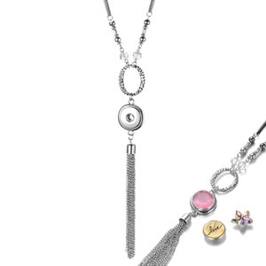 Vocheng Ginger Snap Neckalce 80cm Long Two-tone Chain with Tassel Necklace Pendant for 18mm Snap Button Charms NN-725
