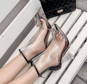 2020 elegant silver transparent cystal flower boots bridal wedding shoes luxury women designer high heels shoes 9.5cm Size 35 To 40