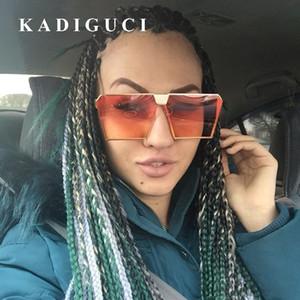 KADIGUCI New Fashion Metal Frame Sunglasses Women Square Brand Designer Women Mirror Sun glasses Men UV400 Oversized Glasses K352