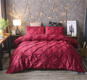 Burgundy Classic Duvet Cover Set Pinch Pleat 2-3pcs set Twin Queen King Size Bedclothes Bedding Luxury Home Hotel Use (no filling no sheet)