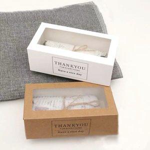 50pcs / lot Danke Geschenk-Boxen Kraftpapier weiß Schublade Formkuchenpapierkasten mit Sichtfenster Displayverpackung für Bäckerei