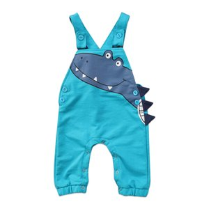 2017 Blue Newborn Infant Baby Boy Girl Dinosaur Sleeveless Romper Overall Jumpsuit Outfits Anime Cute Clothes