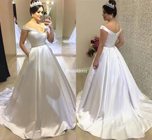 Neueste Brautkleider mit Taschen weg Schulter-Sweep Zug faltet Land-Art-Brautkleider Moderne Günstige Vestidoe De Noiva Gewohnheit