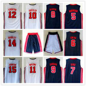 1992 Dream Team Jersey Robinson Ewing Uccello Pippen Drexler Malone STOCKTON JOHNSON BARKELY Michael Sport Basket maglie Harden pantaloncini nuova