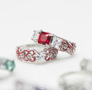 Luxo designer de anéis das mulheres de moda zircão quadrado de liga de diamante anel de epóxi banhado a prata venda quente casal anel Set