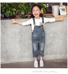 Baby Girls Overalls Spring Autumn Denim Jumpsuit Korean Style Long Jeans Casual Washed Rompers Pocket Button Suspender Trousers Jeans 2020