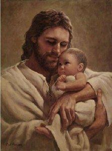 Картины Дэла Парсона в объятиях свою любовь домашнего декора Иисус держит младенца HD печати живопись маслом на холсте стены искусства фотографии 200110