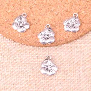 80pcs encantos dupla flor sided 16 * 13 milímetros Antique ajuste Fazendo pendente, prata tibetana do vintage, DIY artesanal jóias