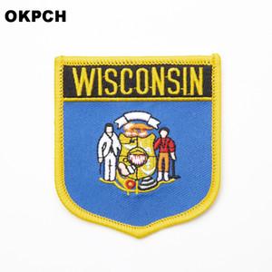 USA Wisconsin State Eisen Auf Abzeichen Gestickte Kleidung Abzeichen Für Kleidung Aufkleber Kleidungsstück 1 stücke 6 * 7 cm