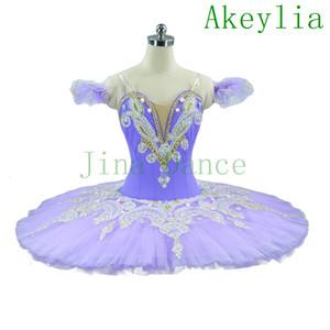 Tutus de ballet profesional para niñas adultas, traje de ballet clásico morado, plato de panqueque azul, concierto de rendimiento, vestido de tutú para niños