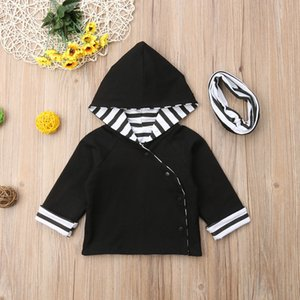 0-24M Newly Autumn Lovely Casual Baby Girls Boys Hoodies Coat 2PCS Single Breasted Striped Hooded Black Warm Clothes+Scarf