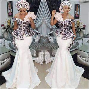 Nigerian Stylish Aso Ebi Mermaid Evening Dresses Sexy Off Shoulder Lace Applique Peplum Dubai Party Dresses Glamorous Satin long prom dress
