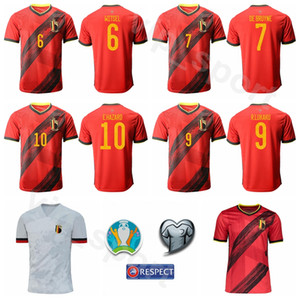 Futbol Belçika Jersey 2020 Avrupa Kupası 10 TEHLİKESİ 9 Lukaku 20 BENTEKE 6 Witsel 4 KOMPANY 8 TIELEMANS DE BRUYNE Futbol Gömlek Setleri