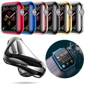 Moda 360 Degree Magro Assista Capa para Apple Watch 3/2 38MM Caso 42MM macia Limpar TPU protetor de tela para iWatch 4 44MM 40MM