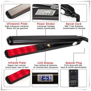 Cuidado del cabello por infrarrojos ultrasónicos Plancha de pantalla LCD Tratamiento del cabello Styler Plancha de hierro en frío para seco y húmedo