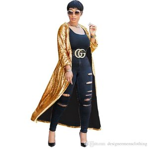 Plus Size Paillettes Cardigan Designer outerwear Femmes en vrac manches demi clair couleur Mesdames Cap Femme Vêtements