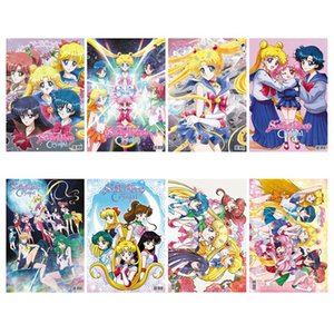 8 feuilles de toile Poster Tissu en soie P0417 affiche de bande dessinée Sailor Moon Home Decor
