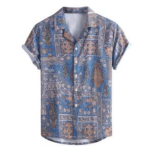Factory direct sales Men's Summer Fashion Casual Lapel Print Short Sleeve Shirt Top Blouse Men's Shirts Winter Purchasing MX200518