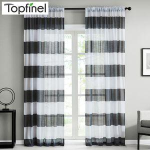 Topfinel Dark Gray Semi Voile Sheer Curtains for Bedroom Kitchen Living Room Stripe Home Decorative Tulle on Windows 5