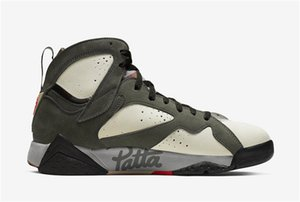 2019 neue Patta x Air 7 OG SP Eiszapfen Schimmer Retro Mahagoni MINK Sequoia Crimson Basketball Schuhe AT3375-100 Outdoor Sneakers Größe 7-13