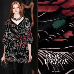 Burnout tessuto in velluto primavera estate abito di seta velluto di seta tessuto dei vestiti cheongsam 114 centimetri di stoffa all'ingrosso