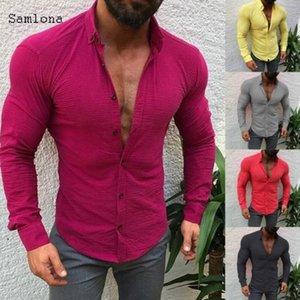 Camicia solida shirt Uomo abbigliamento muscolari Macho Slim Shirts Red Rose stile Samlona European Fashion Casual Cotone Lino maniche lunghe