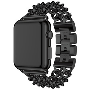 Black Gold Stainless Steel Strap for Apple Watch Band 38mm 42mm Fashion Denim Chain Strap for Iwatch Series3 2 1 Wristband