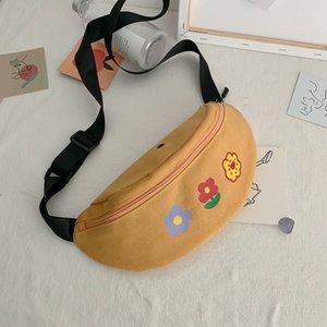 Qiuyin Waist Chest Canvas 2020 for Bum Bags Purse Women Pouch Zipper Belt Vintage Places Embroidered Faces Bag Korean Kitrs