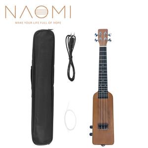 """NAOMI 23"""" Okoume Electric Ukulele Ukulele Uke Kit W Gig Bag 3.5mm Audio Cable Silent Electric Ukulele Concert Uke SET Natrual"""