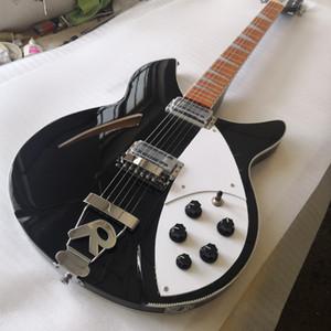 RIC JOHN LENNON JETGLO 330 6 Dize Yarı Hollow Vücut Siyah Elektro Gitar Tek Delik, Beyaz MOP Üçgen Klavye Kakma Ücretsiz Nakliye