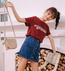 2019 new fashion Women's Denim Skirt High Waist A-line Mini Skirts Women Summer New Arrivals Single Button Pockets Blue Jean Skirt