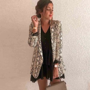 Women Ladies Snakeskin Long Sleeve Suit Cardigan Coat Office Jacket Sexy Snake Pattern Leopard Coat 2020 New Fashion Plus S-XL