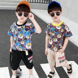 Fashion casual boys suits Summer 2020 cartoon kids suits short sleeve T shirt+shorts pants 2pcs set kids designer clothes boys B1100