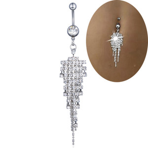 Sexy Dangle Belly Bares Umbigo prata diamante Anéis Belly Piercing CZ cristal Flor Body Jewelry piercing no umbigo Anéis DHL