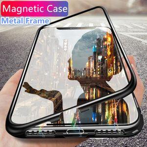 마그네틱 흡착 전화 케이스 아이폰 X 7 플러스 케이스 금속 프레임 커버 강화 유리 아이폰 7 8 플러스 럭셔리 fundas