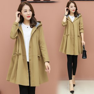 Windbreaker Women Medium and Long New Spring and Autumn Korean Version of Size Loose Cloak Overcoat Spring and Autumn Even Cap Lady Coat