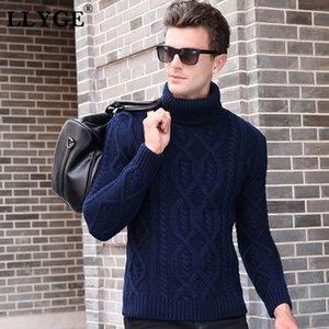 LLYGE Winter-Thick Männer Rollkragenpullover Langarm Solid Color Slim Fit Warm gestrickte Pullover Herren Classic Knit Pullover Tops