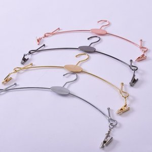 Rose Gold Underwear Hanger Clothes Prop Single Line Chromed Metal Lingerie Panties Bra Rack Exhibition Coat Hangers With 2 Clips