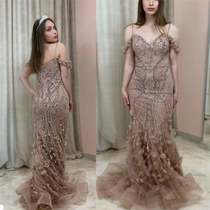 Luxury Mermaid Evening Dresses Sexy Spaghetti Strap Sleeveless Sequins Lace Appliqued Hand Made Flower Prom Dress Sweep Train Party Gown