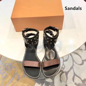 Newest Women Print Leather Sandal Striking Gladiator Style Designer Leather Outsole Perfect Flat Canvas Plain Sandal Size 35-44