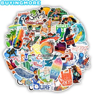 DIY Sörf tahtası Araç Kaykay Sticker hakkındaki 50 ADET Açık Sörf Çıkartma Yaz Spor Tropical Beach Sörf Su geçirmez Çıkartma