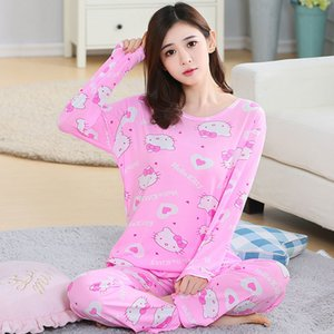 Autumn Winter New Long Sleeve Women Pajamas Set Round Neck Cartoon Cat Kitty Print Sleepwear Female 2 Piece Winter Pajama Set Y200708