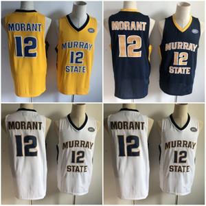 NCAA Murray State Racers 2019 Ja Morant Jersey Temetrius Jamel College كرة السلةيرتدي قميص الجامعة OVC أوهايو فالي أبيض أزرق أصفر