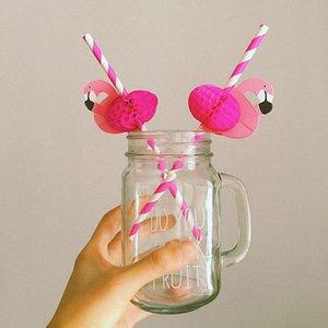 Netter Karikatur-Hot Pink Honeycomb Flamingo bunter Streifen Papier Trinkhalm Vogel-Stock für Hochzeit Partei-Dekoration